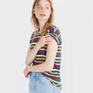 Madewell Whisper Cotton Crewneck Tee Stripe M NWT